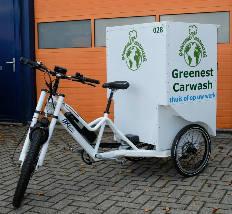 Greenest Cargo Bike for Cleaning Cars!