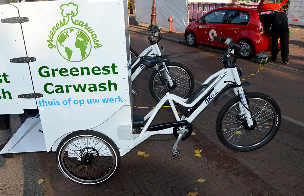 Greenest Carwash Cargo Bikes in action